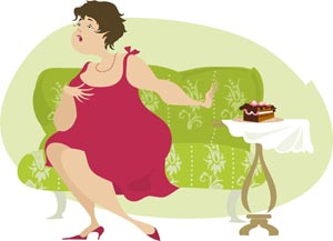 A woman trying to resist eating cake
