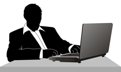 Illustration of a man sitting with a laptop