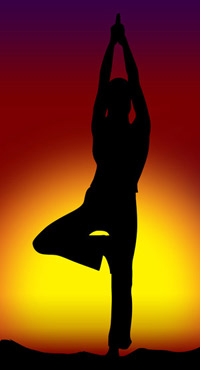 A woman standing in a yoga pose