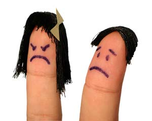 finger puppet of man and woman
