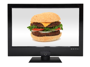 Hamburger ad on TV