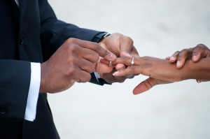 Man putting a ring on his wife's finger