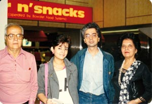 During the NDE, she saw her brother Anoop on a flight to be by her side (Anita with her parents and Anoop)