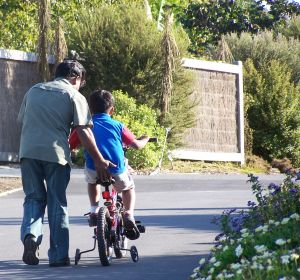 Father helping son ride a bicycle
