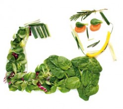 Man depicted using vegetables