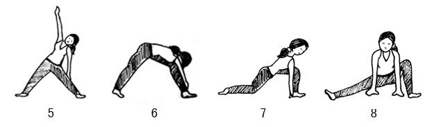 Chandra Namaskar: Trikonasana, ParsvottanasanaLeft side lunge, Forward facing lung