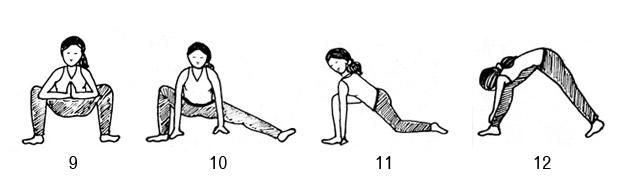 Chandra Namaskar: Malasana, Forward facing lunge, Right side lung, Parsvottanasana