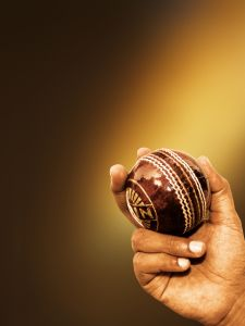 Cricket ball in a spinner's arm