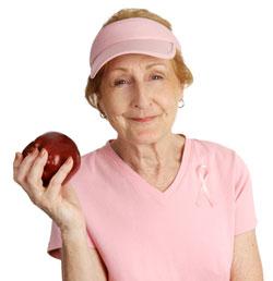 Old lady eating fruit