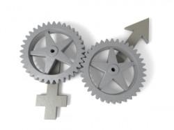 man woman symbols in gears