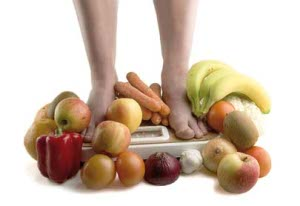 Weighing scale with fruits
