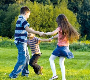 Children playing in the outdoors [Immunity helps them play without fear]