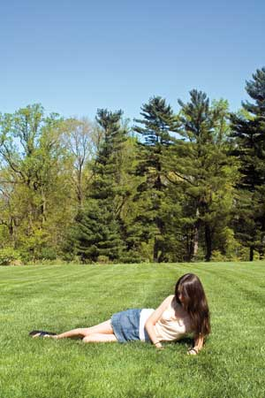 young girl relaxing in nature
