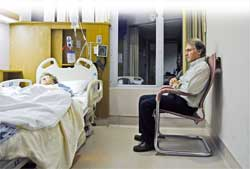 Emergency Hospital room with relatives