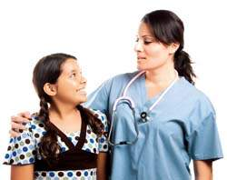 Happy child with a doctor woman