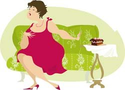 illustration of a fat woman refusing to eat