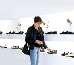 woman buying footwear