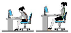 posture for sitting in front of a computer in a chair