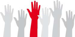 Red hand among many grey hands - stands for extraordinary