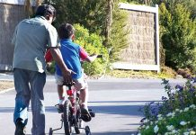 Father helping son learn to ride bicycle