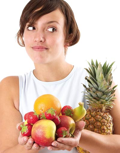 Women holding fruits
