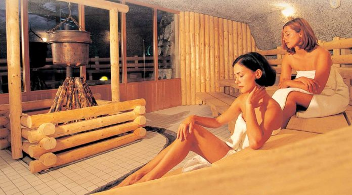 Two women at sauna