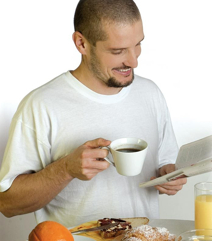 Man having tea and breakfast