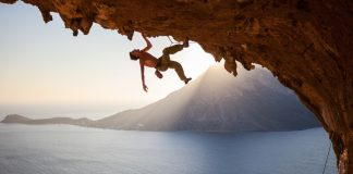 Courage of a rock climber