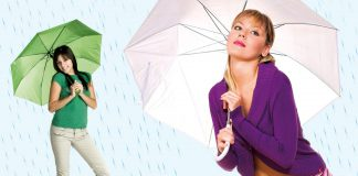 Two women holding umbrellas in the rain