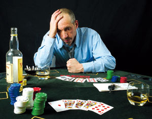 Man losing at gambling