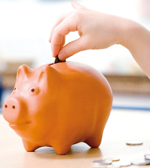 Saving at piggy bank