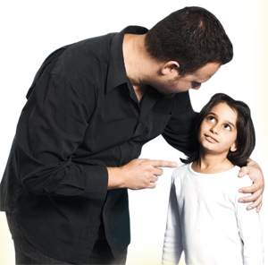 Daughter listening to her father carefully