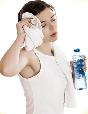 Woman exhausted after gym