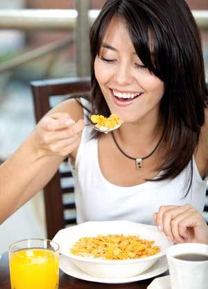 Woman having her breakfast