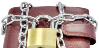 wallet tied with chain and locked