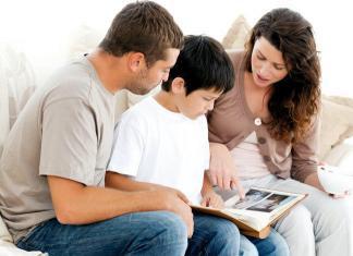 Family seeing their old album