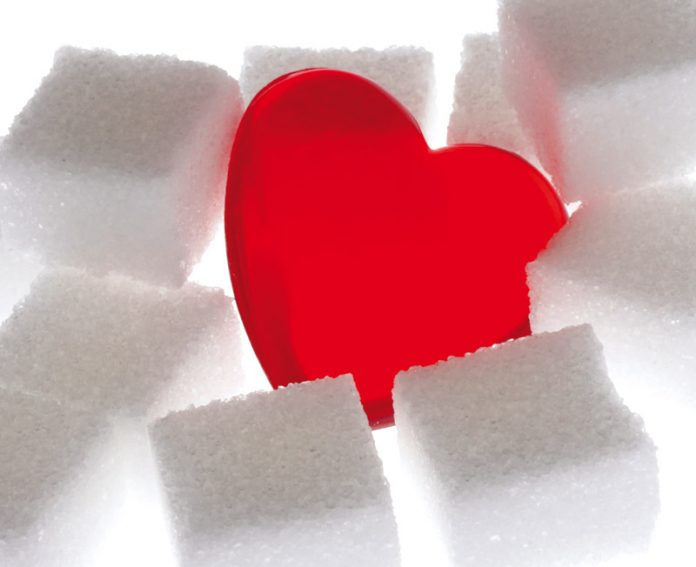 heart surrounded by sugar cubes