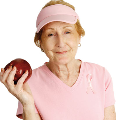 Old lady with an apple