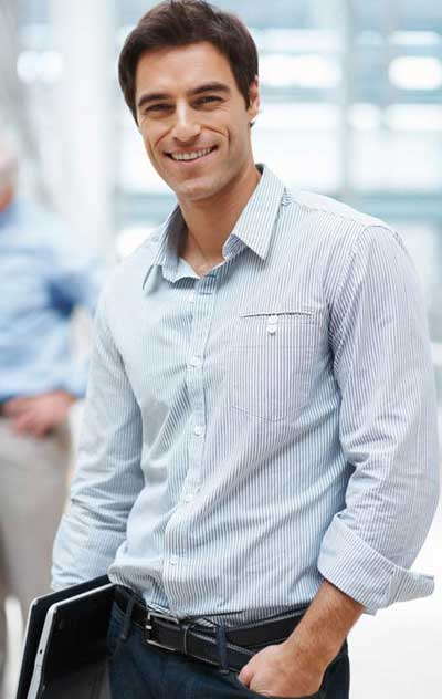 Man with a positive attitude in office