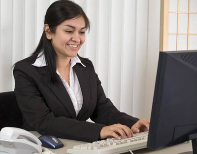 Woman working at a good environment