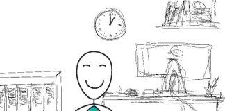 Sketch businessman meditating in office