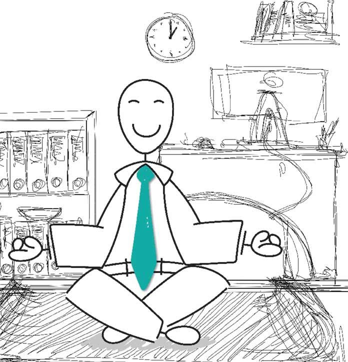 Sketch businessman meditating in office