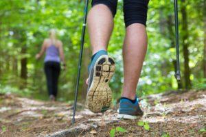 Pair of legs trakking in nature