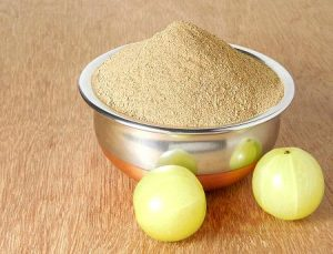 Amla or Indian Gooseberry with its powdered form