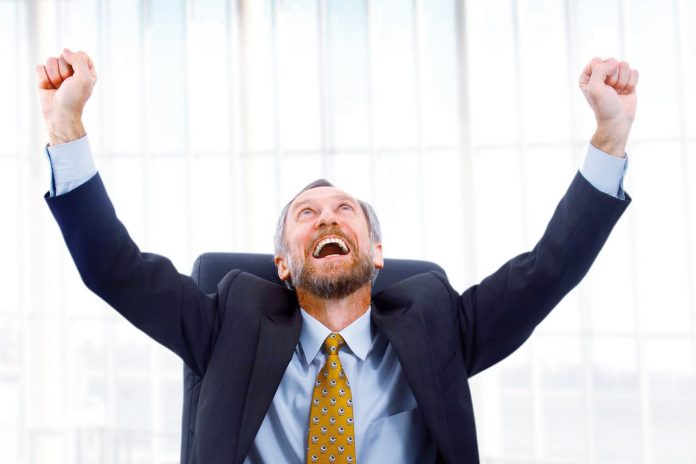 Man happy at workplace