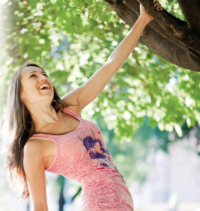 Woman happy in body and mind