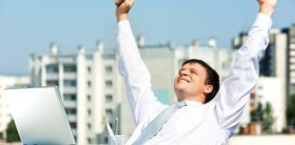 Man happy with success at work