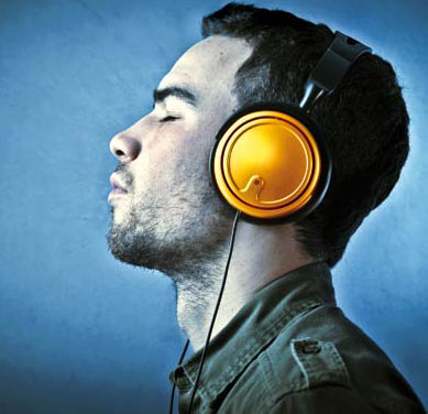 Man listening to music in headphone