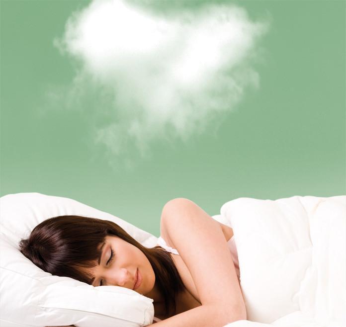 Sleeping woman in a dream