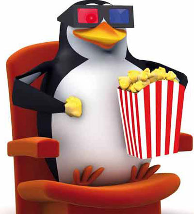 Penguin watching 3D movie and having popcorn